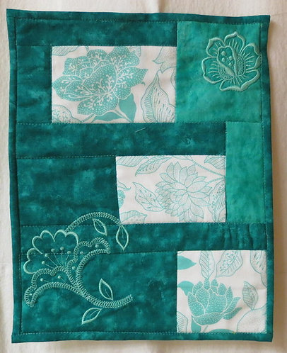 402 Turquoise Floral Wall Hanging