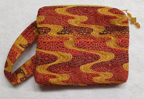 412 Wristlet, Red Gold Waves