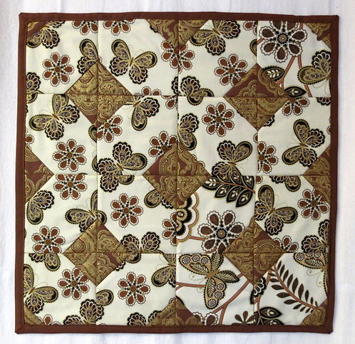 399 Table Topper, Metallic Butterflies and Flowers, Brown/Gold