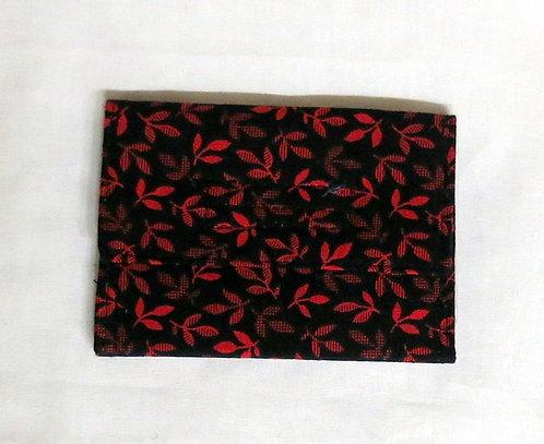 483, 510 Wristlet & ID Holder set Red Black Leaf