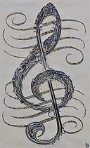 treble clef, wire art, wire painting, wirepictures.co.uk