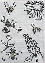 modern art, bees and flowers, bees art, flowers art, wire art, wire painting, wirepictures.co.uk