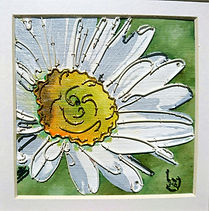 modern art, daisy, wire art, wire painting, wirepictures.co.uk