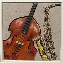 modern art, cello, sax, cello and sax,