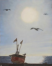 modern art, The Red Boat, worthing seafront, sunlight, seagulls, beach, wire art, wire painting, painting, wirepictures.co.uk