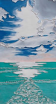 modern art, The Seascape. Silver Linings, wire art, wire painting, wirepictures.co.uk, seaside, sky