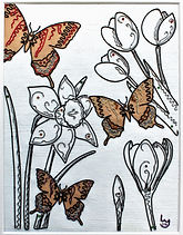 butterflies, flowers, modern art, wire art, wire painting, wirepictures.co.uk