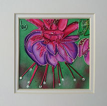 modern art, Blue eyed fuchsia, fuchia, wire art, wire painting, wirepictures.co.uk