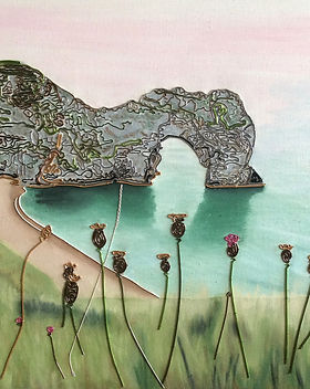 Durdle Dorset Door, www.wirepictures.co.uk, wire art, wire painting, kerry jeffs