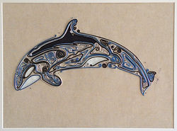 the orca, killer whale, at, modern art, wire art, wire painting, wirepictures.co.uk