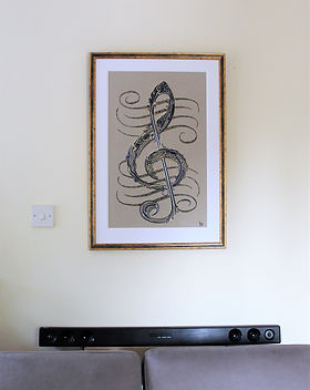 www.wirepictures.co.uk, Treble Clef, art, wire, musical, kerry jeffs wire artist