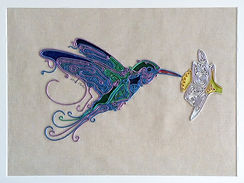 hummingbird, modern art, wire art, wire painting, wirepictures.co.uk