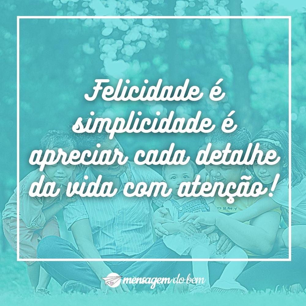 Felicidade é simplicidade é apreciar cada detalhe da vida com atenção!