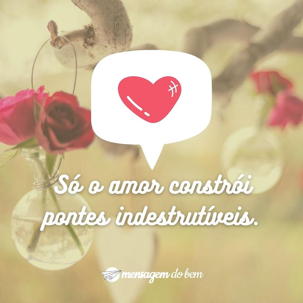 Só o amor constrói pontes indestrutíveis.