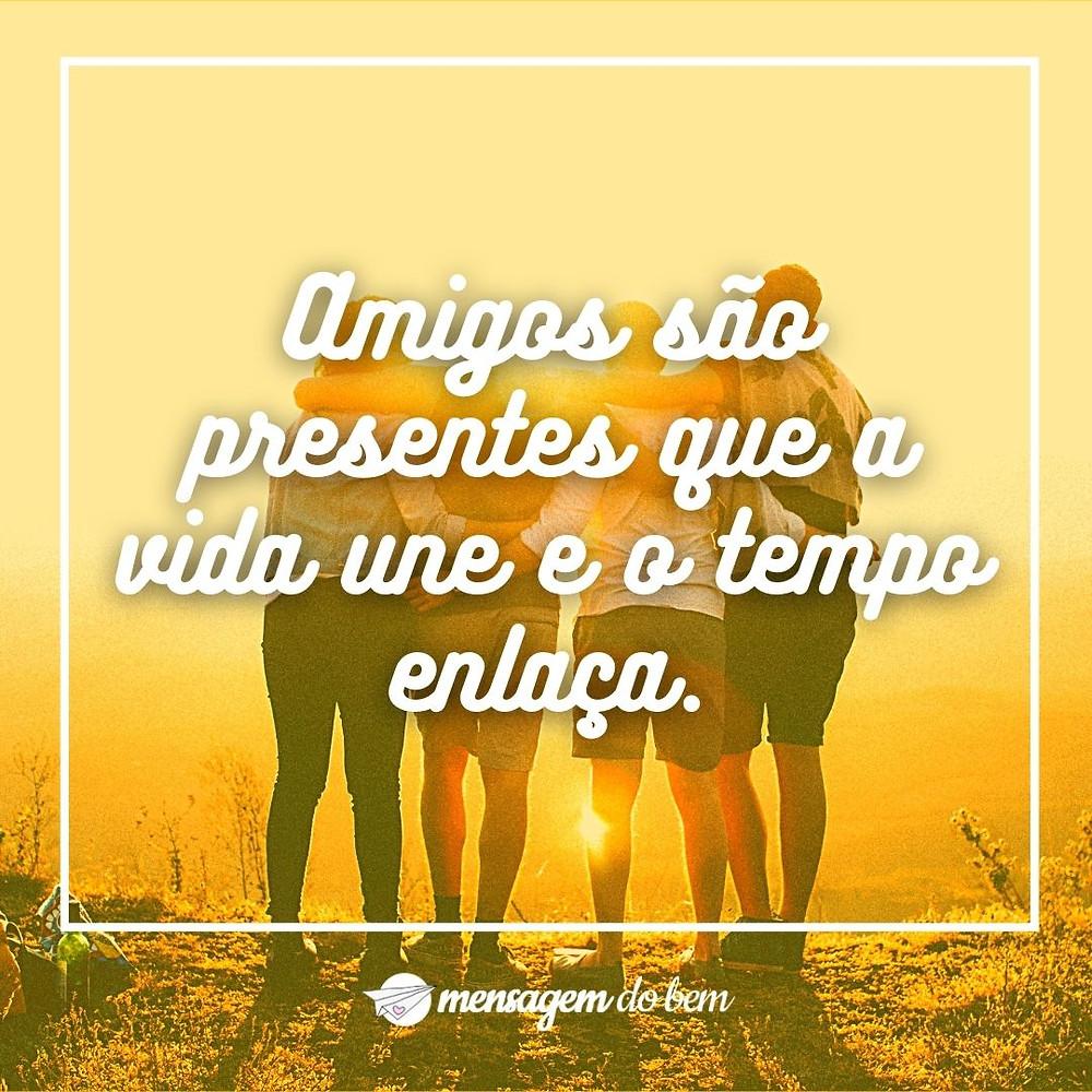 Amigos são presentes que a vida une e o tempo enlaça.