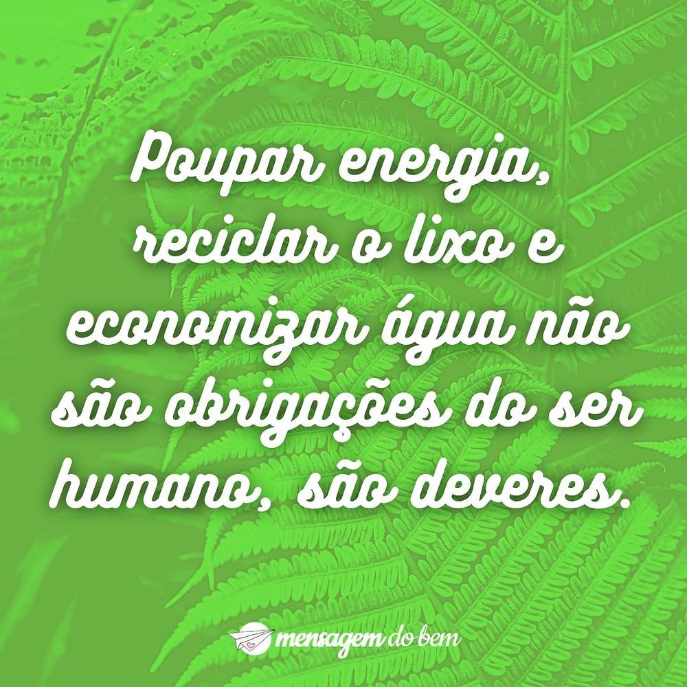 Poupar energia, reciclar o lixo e economizar água não são obrigações do ser humano, são deveres.