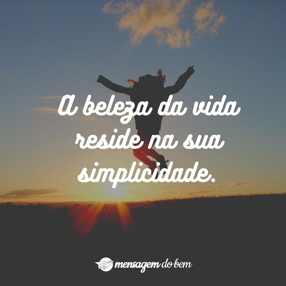 A beleza da vida reside na sua simplicidade.