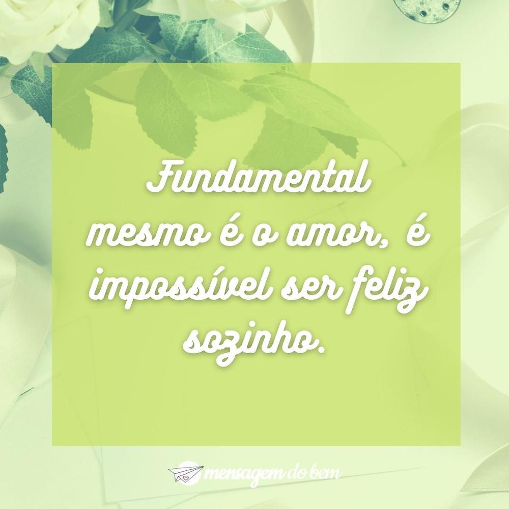 Fundamental mesmo é o amor, é impossível ser feliz sozinho.