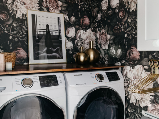 Make a Big Impact in a Small Space - Feminine Chic Laundry Room Reveal