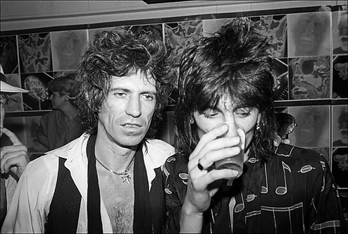 The Rolling Stones, minus drummer Charlie Watts, visit Danceteria in NYC, July 1