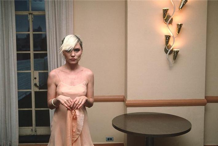 Debbie in a pink dress