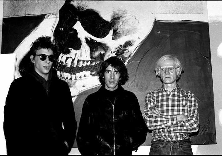 Richard Hell, Legs McNeil, Andy Warhol. New York, 1976