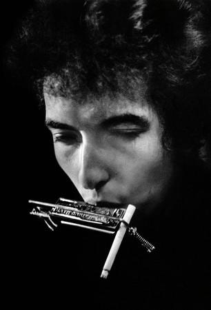 Bob Dylan with harmonica