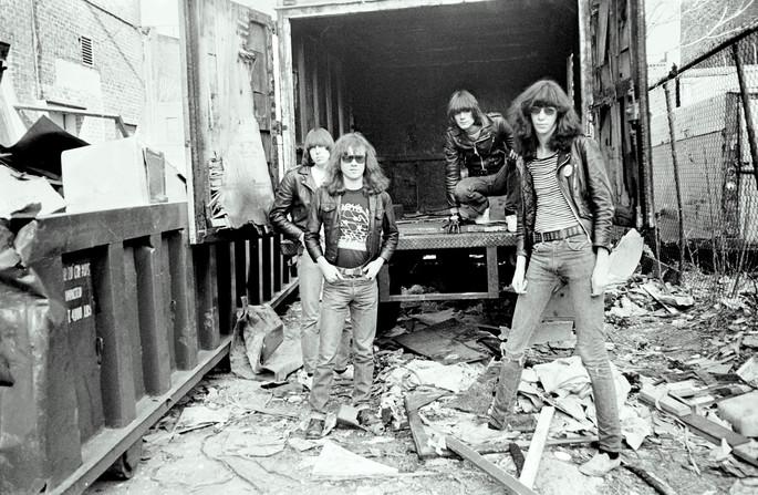 Ramones in the alley behind CBGB's
