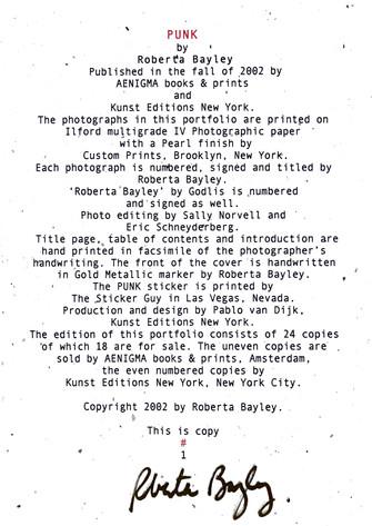 Punk! Book portfolio by Roberta Bayley.j
