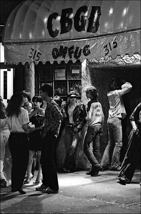 Punks hanging out in front of CBGB on the Bowery in May, 1977.