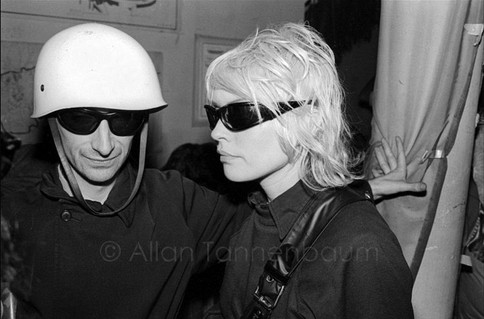 Victor Bockris and Debbie Harry of Blondie attend Combat Love at the Mudd Club.