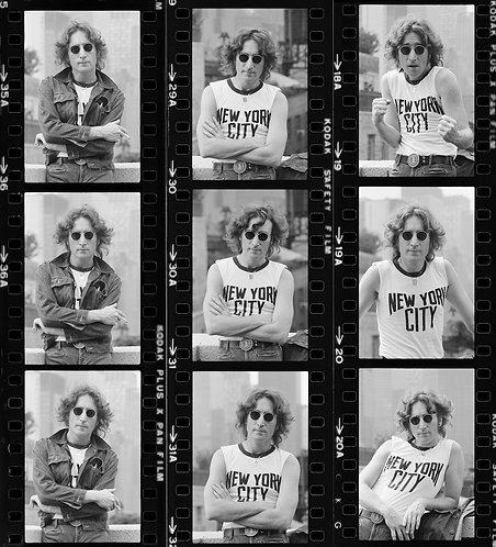 John Lennon Proof Sheet by Bob Gruen. New York City 1974