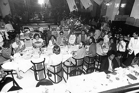 John & Yoko with Double Fantasy crew at dinner Mr. Chow's, NYC 1980