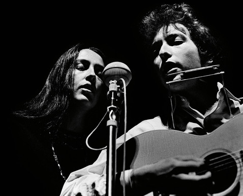 Bob Dylan and Joan Baez at New York's Lincoln Center in 1964