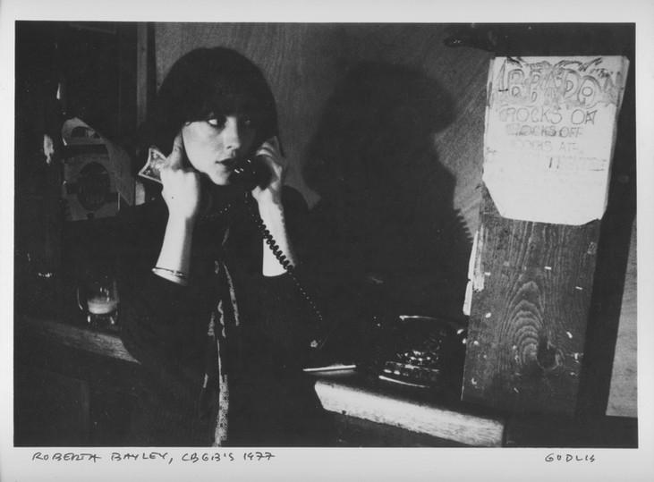 Roberta Bayley at CBGB'S captured by David Godlis. NYC, 1977