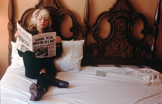 Debbie Harry reading on tour. Date unknown