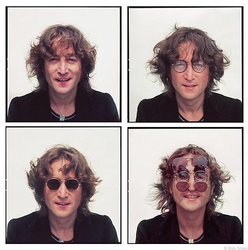 Four faces of John Lennon on rooftop. New York City, 1974