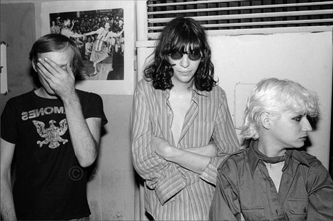 Joey Ramone friend w/ inside out tee at Combat Love at the Mudd Club
