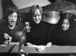 John Lennon, Yoko & Mick Jagger. NYC, 1972