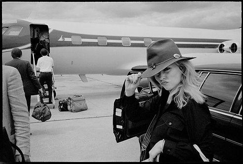 Debbie Harry boarding on tour. NYC, 1978