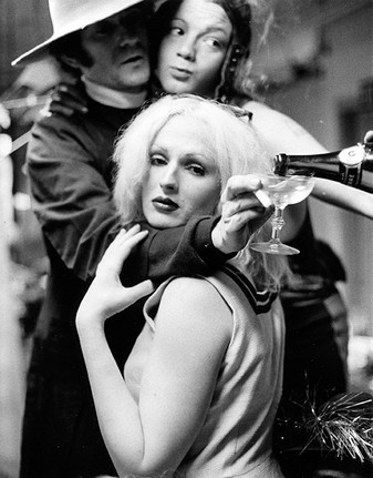 """(L-R) Ondine, Jackie Curtis & Candy Darling at """"Vain Victory"""" rehearsal, NYC 1971"""