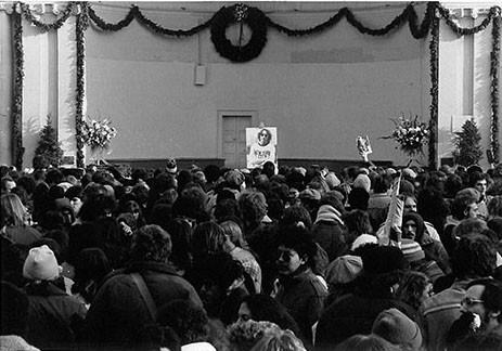 John Lennon memorial at bandshell Central Park, NYC 1980