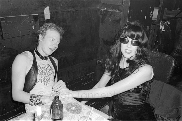Cheetah Chrome of The Dead Boys and friend at CBGB. 1977