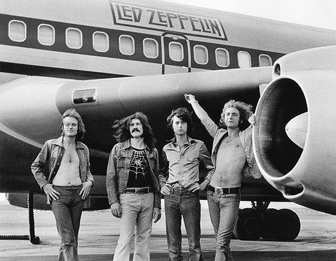 Led Zeppelin in front of The Starship by Bob Gruen. 1973