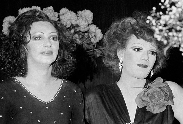 """Holly Woodlawn & Jackie Curtis. """"Cabaret In The Sky"""" at C.I.T.Y. - NYC 1974"""