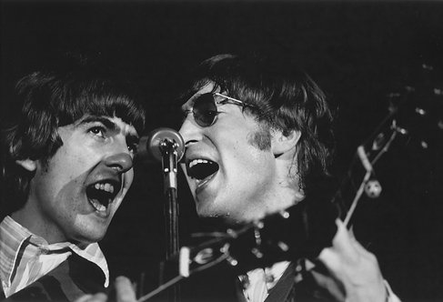 George Harrison and John Lennon On Stage, JFK Stadium, Philadelphia, PA 1966