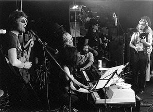 John Lennon, Wayne Tex Gabriel, Yoko Ono, David Peel & Stan Bronstein Butterfly Studio, NYC 1972