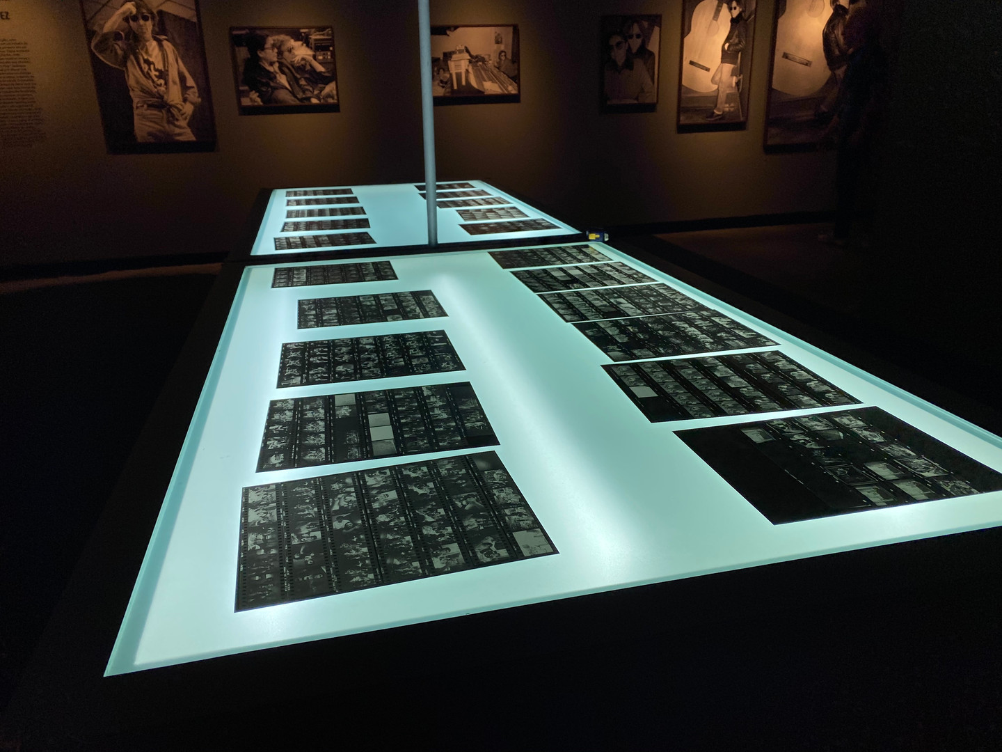 Light table with contact sheets