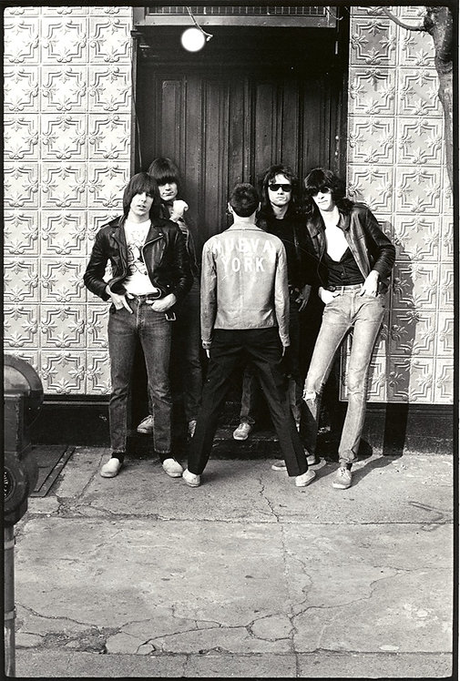 Ramones with Arturo Vega by Roberta Bayley at 2nd St. NYC, 1976