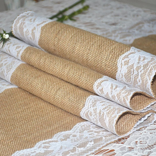 Vintage Hessian Lace table runner